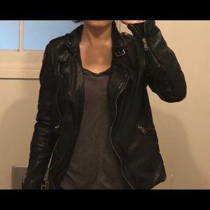MUUBAA Rangerette Black Fitted Leather Jacket US 2